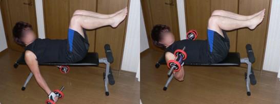 ライイングダンベルカール-腕(長頭)を鍛える-