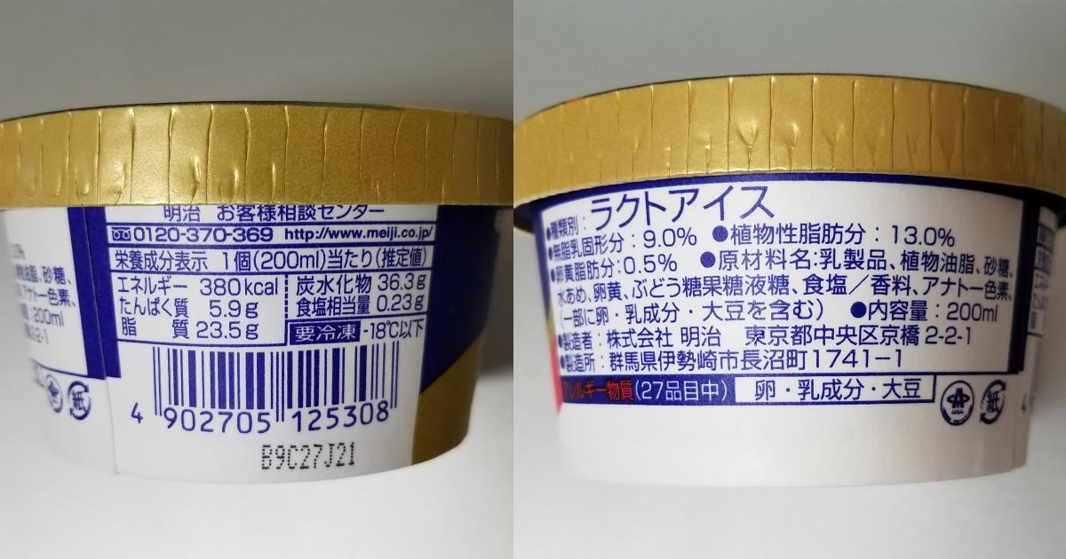 スーパーカップ(明治エッセル)の成分カロリー表